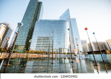 PARIS, FRANCE - September 02, 2018: Morning view on the basin by Takis in La Defense financial district in Paris