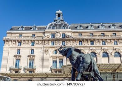 Paris, France - September 02 2019: Elephant statue outside museum d'Orsay in Paris, France - By Emmanuel Fremiet (1824-1910).