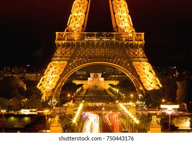PARIS, FRANCE- SEPTEMBER 04, 2017: Aerial view of Eiffel Tower with light performance show. Eiffel Tower is the famous landmark of Paris.