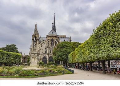 PARIS, FRANCE - SEPTEMBER 05, 2016: Cathedral of Notre Dame de Paris - famous Gothic, Roman Catholic cathedral.