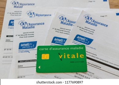 Paris, France - September 07, 2018 :  France health insurance document and Vitale card