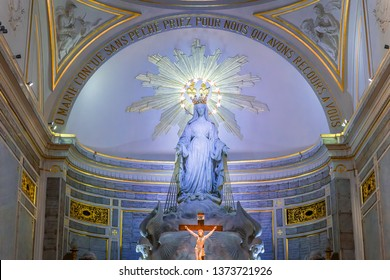 PARIS, FRANCE, SEPTEMBER 08, 2016 : interiors and details of Chapel of Our Lady of the Miraculous Medal, september 08, 2016, in Paris, France