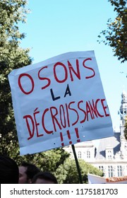 Paris, France - september 08 2018: Walking for the climate - Up for the climate. Ecological demonstration.