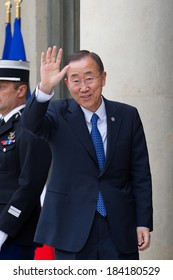 PARIS, FRANCE - SEPTEMBER 1, 2011 : Ban Ki-moon at the summit about Libya at Palais de l'Elysee