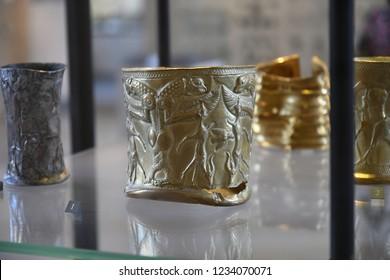 Paris, France - September 1 2018: Wrist Bracelet  from Ancient Mesopotamia Gold Metalworking, Darius era