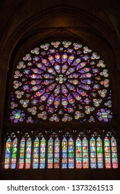 PARIS, FRANCE, SEPTEMBER 1, 2018 : Ancient stained window rosace in the Notre Dame de Paris cathedral