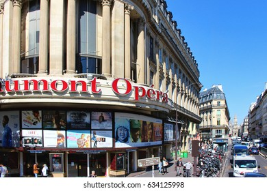 PARIS, FRANCE - SEPTEMBER 10, 2015: Cinema gaumont building, front view and street