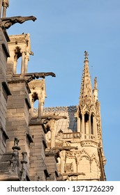 PARIS, FRANCE, SEPTEMBER 11, 2012. Detail of the roof and gargoyles on Notre Dame. It is one of the most visited buildings of the world, placed on the center of the city.