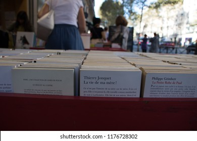 Paris, France - September 11, 2018: Rows of used French language books in Saint Michel