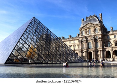 Paris, France - september 11. 2018 - Louvre Museum on a sunny summer day