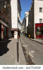 Paris, France - September 11, 2019: Street scene in the 5th Arrondissement (Quartier Latin). This Paris street is at the former location of a river, the Bièvre, which used to flow into the Seine.