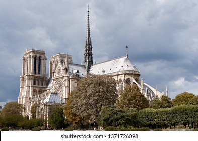 PARIS, FRANCE, SEPTEMBER 12, 2012. Peaceful view of Notre-Dame Cathedral. Notre dame is one of the most visited buildings of the world, placed on the center of the city.