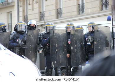 PARIS, FRANCE - SEPTEMBER 12, 2017 : security during French strike and street protests against the overhaul of French labor laws