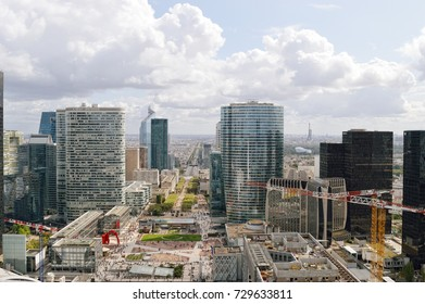 Paris, France - September 12, 2017: View of the Avenue Charles de Gaulle from La Grande Arche, La Defense.