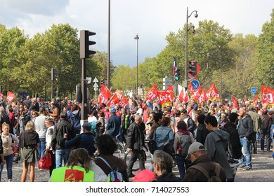 PARIS, FRANCE - SEPTEMBER 12,2017 : French strike and street protest against the overhaul of French labor laws