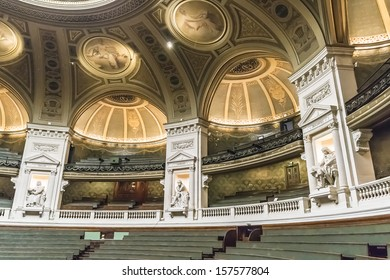file la sorbonne hall ceiling. PARIS, FRANCE - SEPTEMBER 14, 2013: Sculptures Of Famous Scientists In Amphitheater File La Sorbonne Hall Ceiling