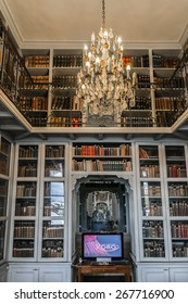 PARIS, FRANCE - SEPTEMBER 14, 2014: Interior of library at Ecole Militaire (Military School was founded by Louis XV in 1750). Complex of military training facilities located on Champ de Mars in Paris.