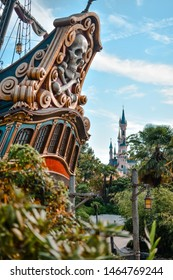Paris, France - September 14 2018: View of the Disney Castle from the Pirates of the Caribbean island
