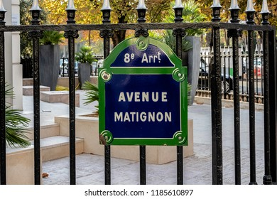 PARIS, FRANCE - September 14th, 2018. Plate of street. Matignon avenue in the 8th district of Paris