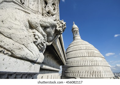 PARIS, FRANCE - September 15, 2015 - A detail of the Sacre-Coeur church