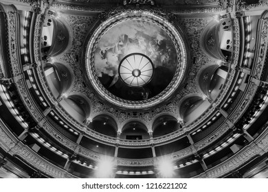 PARIS, FRANCE, SEPTEMBER 15, 2018 : interiors, frescoes and architectural details of the Opera comique, september 15, 2018 in Paris, France.