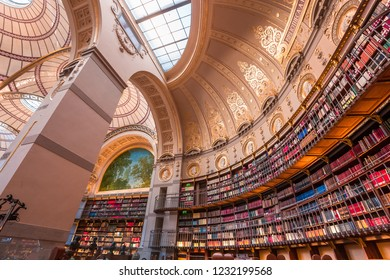 PARIS, FRANCE, SEPTEMBER 15, 2018 : architectural details of the Richelieu public National library, september 15, 2018 in Paris, France.