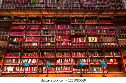 PARIS, FRANCE, SEPTEMBER 15, 2018 : architectural details of the Richelieu public National library, september 15, 2018 in Paris, France.
