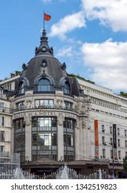 Paris, France - September 15, 2018: Bazar de l'Hotel de Ville, aka BHV, entrance. BHV is a popular department store in Le Marais.