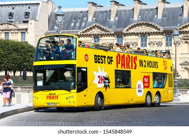 Paris, France - September 15, 2019: Touristic coach bus Ayats Bravo I City in the city street.