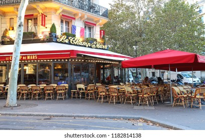 PARIS, FRANCE - September 16, 2018: Cafe Le Champ de Mars is typical French cafe located near the Eiffel tower in Paris, France.
