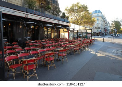 PARIS, FRANCE - September 16, 2018: Cafe des Officiers is typical French cafe located near the Eiffel tower in Paris, France.