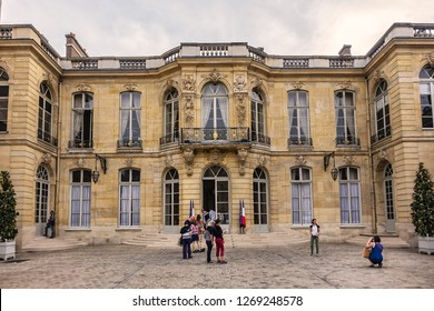 PARIS, FRANCE - SEPTEMBER 16, 2018: View of Hotel de Matignon - official residence of Prime Minister of France, located in 7th arrondissement of Paris. 57 rue de Varenne, Paris.