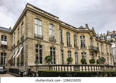 PARIS, FRANCE - SEPTEMBER 16, 2018: View of Hotel de Matignon - official residence of Prime Minister of France, located in 7th arrondissement of Paris. 57 rue de Varenne, Paris.