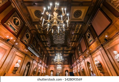PARIS, FRANCE, SEPTEMBER 16, 2018 : architectural details of the Mazarine library, september 16, 2018, in Paris, France