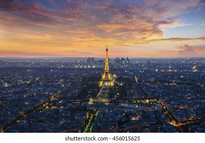 PARIS, FRANCE - SEPTEMBER 17, 2015: Evening view on Paris and the Eiffel Tower.