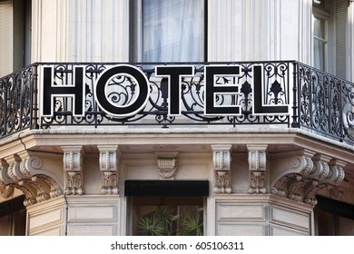 Paris, France - September 18, 2010 : Old hotel sign in Paris France