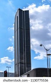 PARIS, FRANCE - SEPTEMBER 2, 2017: Famous Montparnasse tower (Maine-Montparnasse Tower, 1973) in the centre of Paris - 210-metre office skyscraper.