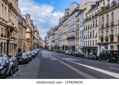 PARIS, FRANCE - SEPTEMBER 2, 2017: Paris architecture: Rue de Tournon - a street in the sixth arrondissement. Rue de Tournon is one of the most prestigious streets of Paris.