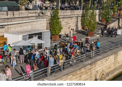PARIS, FRANCE - SEPTEMBER 2, 2017: City Hall Wharf (Quai de l'Hotel de ville) - picturesque embankments of the Seine River in Paris.