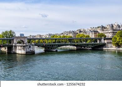 PARIS, FRANCE - SEPTEMBER 2, 2017: View of pont de Bir-Hakeim (formerly pont de Passy) - a bridge that crosses the Seine River. Bir-Hakeim bridge is 237 meters long.