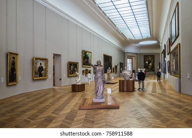 PARIS, FRANCE - SEPTEMBER 2, 2017: Fragment of the interior of the hall in Petit Palais (Small Palace, 1900) in Paris. Petit Palais- historic site in Paris.