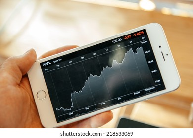 PARIS, FRANCE - SEPTEMBER 20, 2014: Hand holding Apple iPhone 6 Plus displaying the Apple stock price evolution on its large display during the sales launch of the latest Apple Inc. smartphones