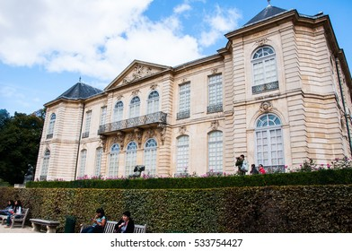 PARIS, FRANCE - September 20, 2015: The house of Rodin museum palace seen from the garden.