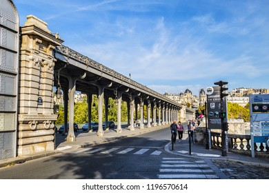 PARIS, FRANCE - SEPTEMBER 20, 2018: Paris Pont de Bir-Hakeim (or pont de Passy) is a bridge at Seine River.
