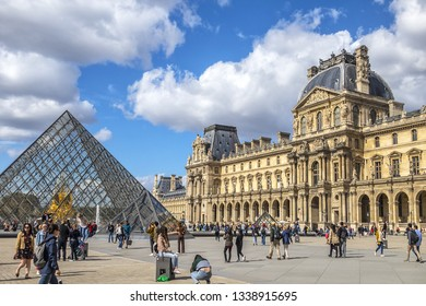 PARIS, FRANCE - SEPTEMBER 20, 2018: View fragments of Louvre buildings in Louvre Museum. Louvre Museum is one of largest and most visited museums worldwide.