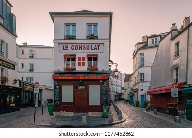 Paris France September 2018, Streets of Montmartre in the early morning with cafe`s and restaurants, colorful street view