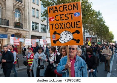 PARIS, FRANCE - SEPTEMBER 21, 2017 : Demonstration against the France's labor laws supported by president Emmanuel Macron government.