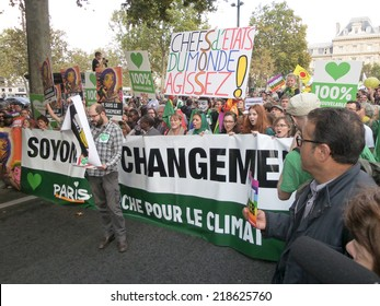 PARIS, FRANCE - SEPTEMBER 21: The People climate march is a street march organized in many countries as a world event to protest against  the climate change, on September 21, 2014 in Paris, France.