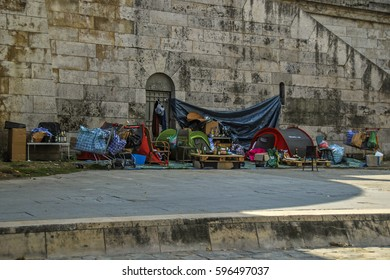 Paris, France - September 23, 2008: Elaborate shelter built by homeless on the bank of the Seine River
