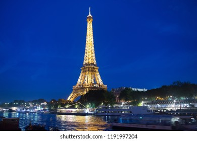 Paris, France - September 23, 2017: icon of paris. Effel tower by night. Traveling to France. The Eiffel Tower at a glance. Theres no feeling like it.